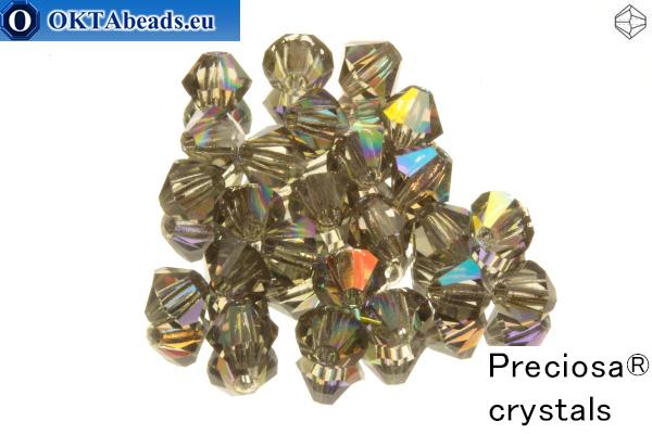 Preciosa Křišťálové Korálky - Black Diamond AB 3mm, 24ks