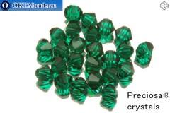 Preciosa Křišťálové Korálky - Emerald 4mm, 24ks