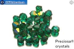 Preciosa Křišťálové Korálky - Emerald AB 4mm, 24ks