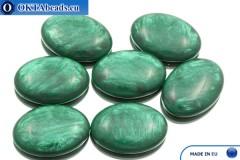 Acrystone cabochon emerald pearl 25х18mm, 1pc