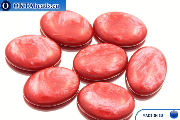 Acrystone kabošon červený perlový 25х18mm, 1ks ACR0014
