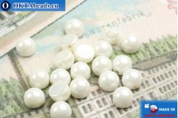Cabochon Beads white luster (L03000) 6mm, 20pc MK0159