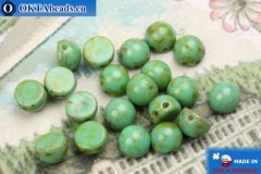 Cabochon Beads turquoise travertin (T63130) 6mm, 20pc