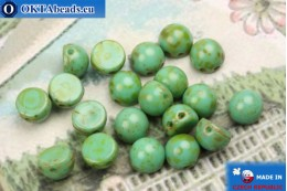 Cabochon Beads turquoise travertin (T63130) 6mm, 20pc MK0362