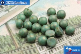 Cabochon Beads turquoise travertin matte (MLG63130) 6mm, 20pc MK0167