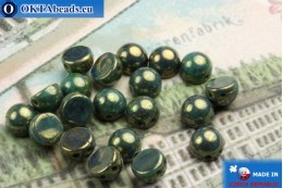 Cabochon Beads turquoise gold luster (LG63150) 6mm, 20pc MK0164