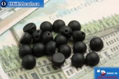 Cabochon Korálky černý matný (M23980) 6mm, 20ks