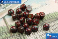 Cabochon Beads red travertin (T93200) 6mm, 20pc