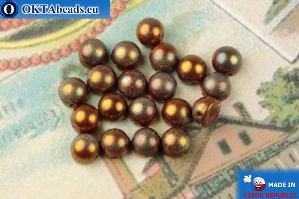 Бусины Кабошон красный золотой глянец (LH93200) 6мм, 20шт, MK0447