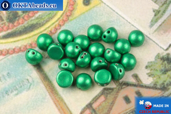 Cabochon Beads green metallic (77051CR) 6mm, 20pc MK0446