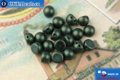 Cabochon Beads green metallic matte (79052MJT) 6mm, 20pc, MK0448