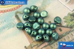Cabochon Beads green metallic matte (94104JT) 6mm, 20pc, MK0450