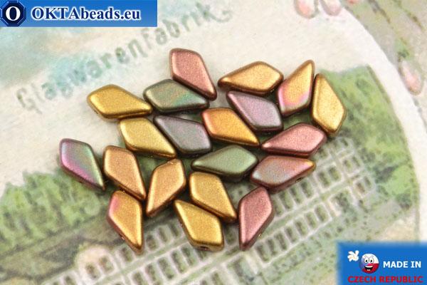 Бусины Кайт ирис золото матовые (00030/01640) 9х5мм, 20шт MK0552