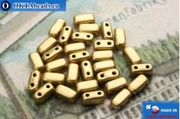 Бусины Кирпичик золото матовые (K0171JT) 3х6мм, 30шт MK0202