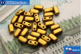 Бусины Кирпичик золото матовые (K0173JT) 3х6мм, 30шт MK0200