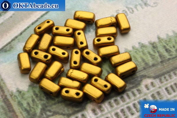 Bricks Beads gold matte (K0173JT) 3x6mm, 30pc MK0200
