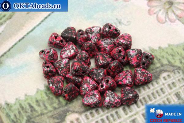 Бусины NIB-BIT черные розовые серебро (45708JT) 6х5мм, 30шт MK0384