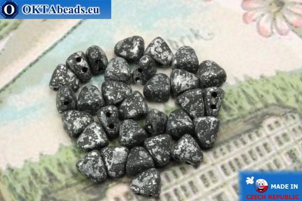 Бусины NIB-BIT черные серебро матовые (45702JT) 6х5мм, 30шт MK0381