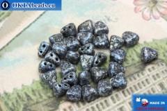 NIB-BIT Beads black blue silver (45706JT) 6x5mm, 30pc MK0383