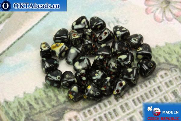 Бусины NIB-BIT черные травертин (T23980) 6х5мм, 30шт MK0378