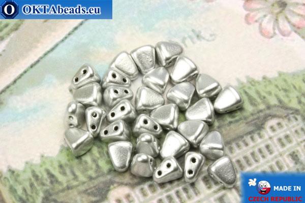 Бусины NIB-BIT серебро матовые (K0170) 6х5мм, 30шт MK0364