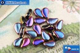 Korálky Paisley fialový modrý (23980/29503) 8x5mm, 20ks MK0581