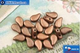 Бусины Пейсли медь металлик матовые (23980/94100) 8х5мм, 20шт