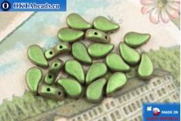 Бусины Пейсли зеленые металлик матовые (23980/94103) 8х5мм, 20шт