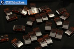 Plastic beads 2 holes brown 17x9x5mm, 10pc CHP0005
