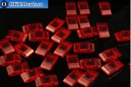 Plastic beads 2 holes red 17x9x5mm, 10pc CHP0004