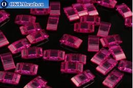 Plastic beads 2 holes pink 17x9x5mm, 10pc CHP0001