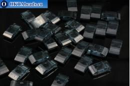 Plastic beads 2 holes grey - light blue 17x9x5mm, 10pc CHP0011