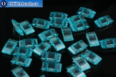 Plastic beads 2 holes light blue 17x9x5mm, 10pc CHP0007
