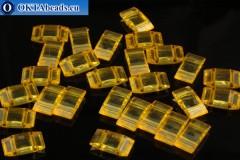 Plastic beads 2 holes yellow 17x9x5mm, 10pc CHP0006