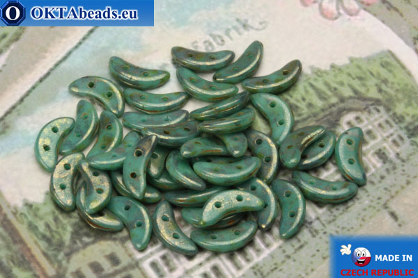 Crescent Beads turquoise gold luster (LG63130) 3x10mm, 5g MK0217