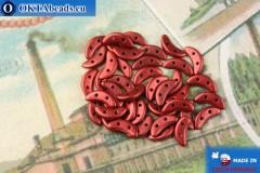 Бусины Полумесяц красный металлик матовый (K0189) 3х10мм, 5гр