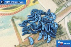 Бусины Полумесяц синий металлик матовый (79031MJT) 3х10мм, 5гр