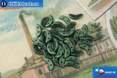 Crescent Beads green metallic matte (79051MJT) 3x10mm, 5g
