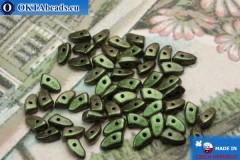 Бусины Пронг зеленые металлик матовые (94103JT) 3х6мм5гр