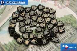 Triangle Beads black gold luster (LG23980) 6mm5g