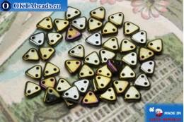 Бусины Треугольные коричневые ирис (21415JT) 6мм5гр MK0260