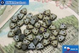 Бусины Треугольные коричневые ирис матовые (21115JT) 6мм5гр MK0266