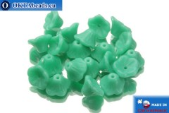 Flower cup czech beads turquoise (63140) 7x5mm, 20pc