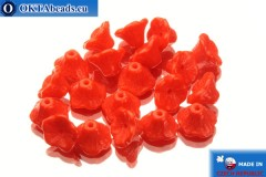 Flower cup czech beads red (93180) 7x5mm, 20pc