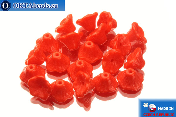 Flower cup czech beads red (93180) 7x5mm, 20pc MK0122