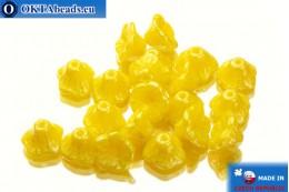 Чешские бусины цветок желтые глянцевые (83120/14400) 7х5мм, 20шт MK0121