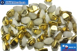 Czech buckwheat beads alabaster gold (02020/26441) 5mm, 50pc PO008