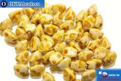 Czech buckwheat beads white travertin (02020/86800) 5mm, 50pc
