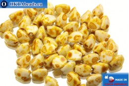 Czech buckwheat beads white travertin (02020/86800) 5mm, 50pc PO011