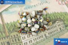 Czech buckwheat beads white vitrail (02010-28101) 5mm, 50pc, MK0539